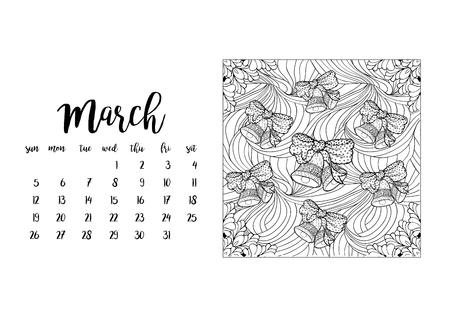 desk calendar: Desk calendar horizontal template 2017 for month March. Week starts Sunday