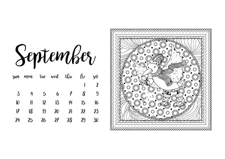 desk calendar: Desk calendar horizontal template 2017 for month September. Week starts Sunday