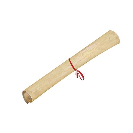 vellum: Vellum or papyrus opened scroll, vector background template for retro fashion design. Closeup