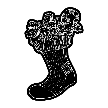 knock out: Xmas sock with gifts. Knockout printing sticker,isolated clipart. Vector illustration
