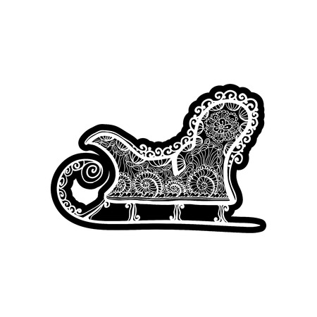 Vintage sled for winter sport. Knockout printing sticker,isolated clipart. Vector illustration