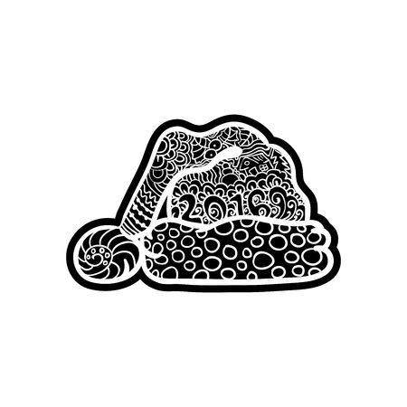 knock out: Santas hat. Knockout printing sticker,isolated clipart. Vector illustration