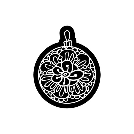 knock out: Xmas ball or round toy with ornament. Knockout printing sticker,isolated clipart. Vector illustration