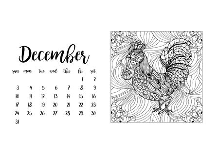 desk calendar: Desk calendar template for month December with doodle stylized rooster animal. Week starts Sunday