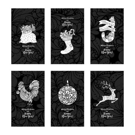 knock out: Greeting card set for New Year and Christmas. Hand drawn doodles elements. Vertical vector