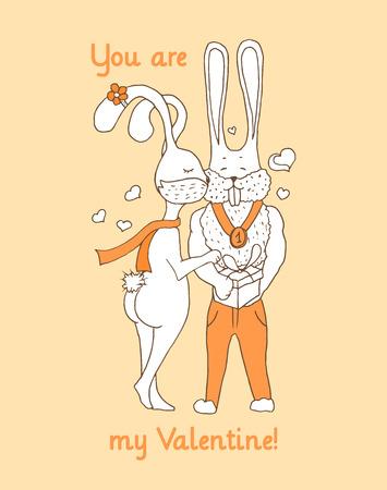 lapin sexy: cadeau Saint Valentin, carte de voeux avec des lapins mignons et chics. Cartoon tiré par la main conception pour des amants. Vector vertical modèle de carte postale