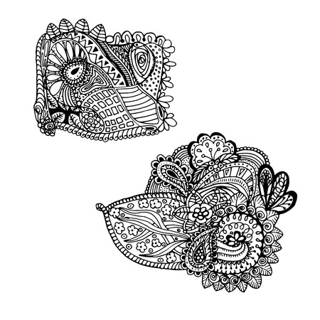 Mono color black line art element for adult coloring book page design.Floral collection. Ethnic ornament. Vector illustration
