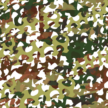 Camouflage net, camoflage scrim seamless pattern or texture. Vector fabric design for textile industry. Realistic illustration