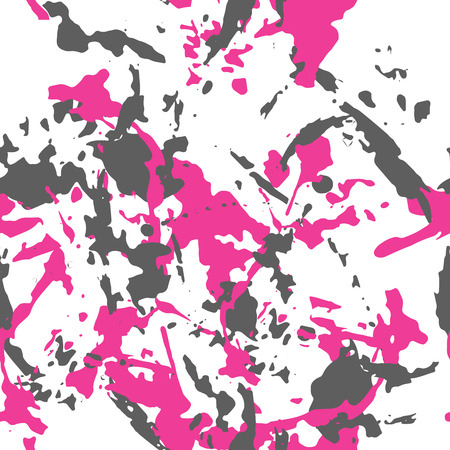 Camouflage pink and dark grey seamless pattern on the white. Vector camo illustration for cloth fabric print