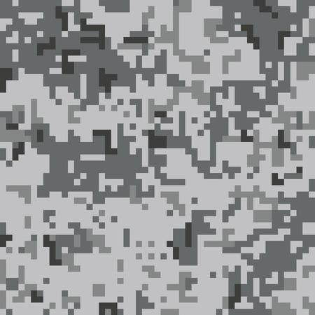 ピクセル迷彩柄シームレス パターン。灰色の都市迷彩。ベクトル ファブリック テキスタイル プリント デザイン