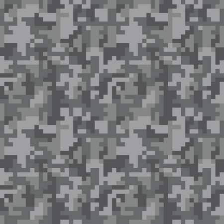 Pixel camo seamless pattern. Grey urban camouflage. Vector fabric textile print design