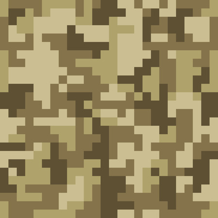 Pixel camo seamless pattern. Brown desert or jungle camouflage. Vector fabric textile print design Illustration