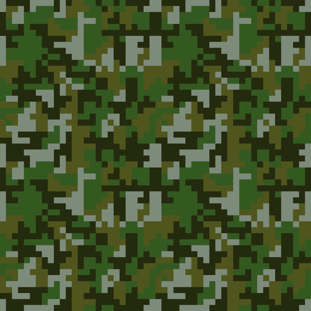 Pixel camo seamless pattern. Green forest camouflage. Vector fabric textile print design  イラスト・ベクター素材