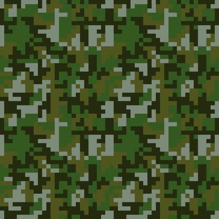 Pixel camo naadloos patroon. Green forest camouflage. Vector stoffentextiel print design Vector Illustratie