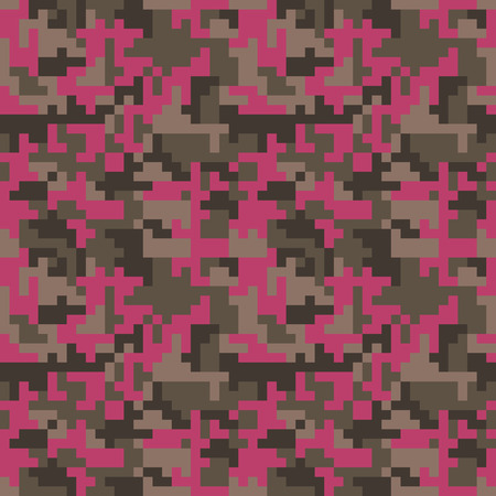 Pixel camo seamless pattern. Fashion pink trendy camouflage for game industry. Vector fabric textile print design. Femimine style Illustration