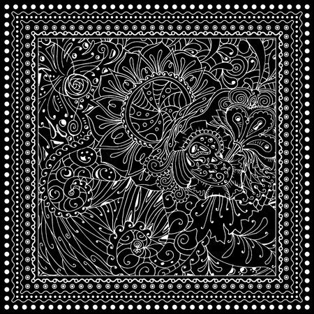 Negro Ilustración Vectorial De Color Mono Diseño De Página Del Libro Para Colorear Para Adultos Para Adultos Modelo Del Vector Cenefa Y El Marco