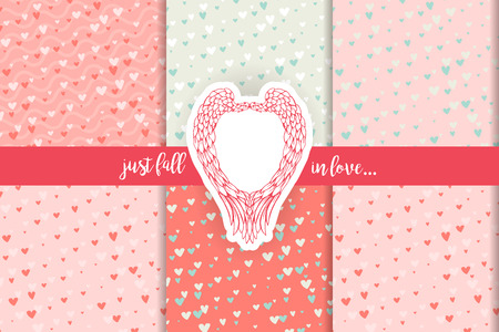 scrap book: Blue and pink contrast patterns collection for scrapbooking. Cute doodle hearts scrap book backgrounds set and angel wings retro sticker. For Valentines Day cards,gifts, wedding invitations,romantic design. Vector illustraion Illustration