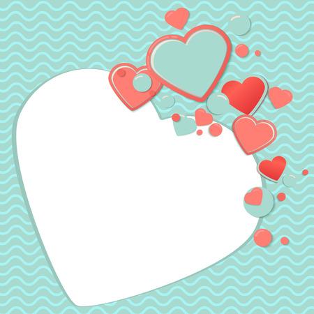 scrap book: Pink and blue paper hearts for scrapbooking design, scrap book template.Valentines Day Scrap Card or scrap postcard. Romantic Lovely Frame design template for Mothers Day or scrapbooking.