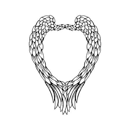 Zwart veren en vleugelsframe in hartvorm, geïsoleerd kader voor het ontwerp van de Valentijnskaartendag. Vector illustratie