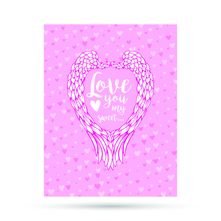 Pink and blue paper hearts with angel wings. Valentines Day Greeting Card or postcard isolated on white background. Romantic Lovely Design template for Mothers Day or scrapbooking.