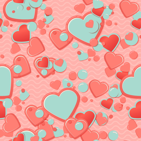 Blue Scrapbook Paper Hearts With Circles And Waves Valentines
