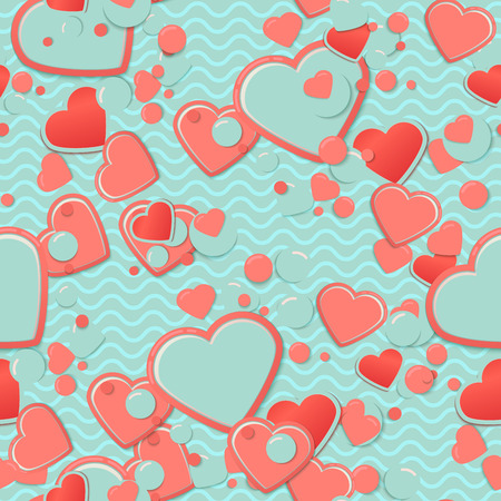 Blue Scrapbook paper, hearts with circles and waves. Valentines Day Greeting Card or postcard, scrap background.Romantic scrapbooking. Lovely cute design template for Mothers Day or scrap booking.