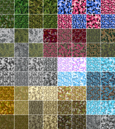 Pixel camo seamless pattern Big set. Green, forest, jungle, urban, pink, blue, brown camouflages. Vector fabric textile print designs