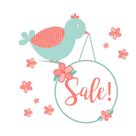 Cute bird with hanging wobler and handdrawn Sale inscription. Flowers symbols. Illustration