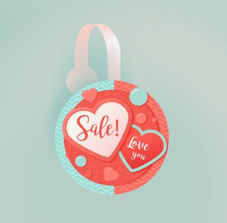 Vector wobbler mockup with transparent strip.Template for your hanging shelf tag design. Sale design object, advertising, valentines day and hearts