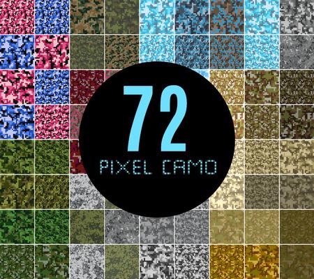 Pixel Camo seamless Big set. Vert, forêt, jungle, urbain, rose, bleu, brun camouflages. dessins d'impression textile tissu vecteur Vecteurs