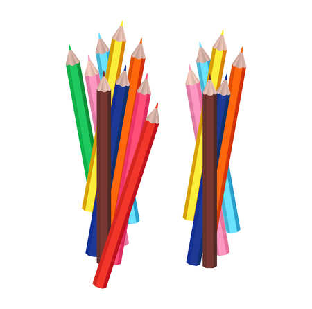 group of objects: Group of colorful pencils, isolated vector objects for education design or business presentation