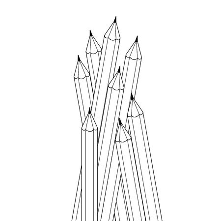 group of objects: Group of contour drawing black and white color pencils. Isolated objects