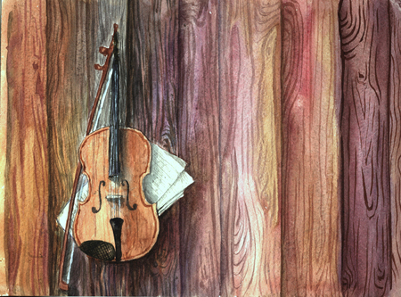 brow: Vintage guitar, violin musical instrument with music-sheets on the wooden planks table. Watercolor artistic artwork.