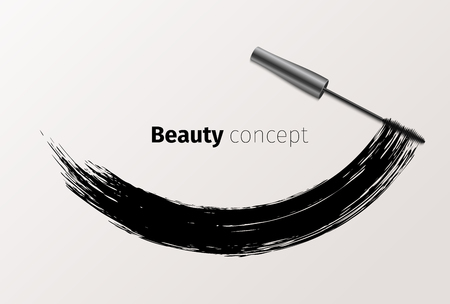 Mascara fashion banner, clear template for advertising or magazine page. Realistic vector cosmetic object, beauty concept