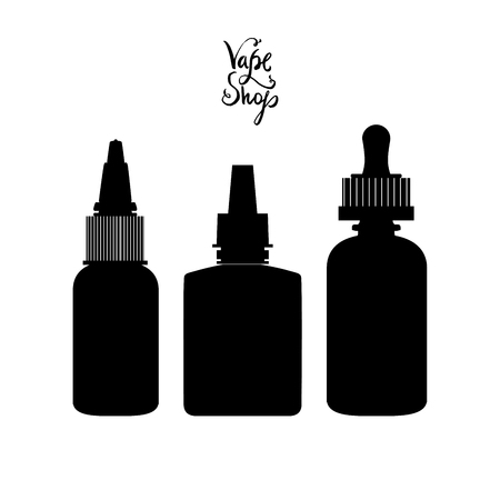 electronic: Black isolated vape bottles silhouettes set with liquid or aroma. Electronic cigarette accessorize, icons for vaporizer design