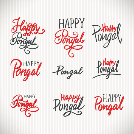 Happy pongal holiday hand written lettering vintage style labels happy pongal holiday hand written lettering vintage style labels phrases or quotes set greeting card text templates m4hsunfo