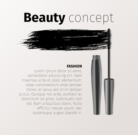 Mascara fashion banner, template for advertising or magazine page. Realistic vector cosmetic objects