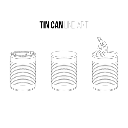 hermetic: Tincan, canned food line art icons isolated on white background. Outlines objects, contour vector Metal or Plastic Tin Can.