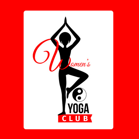 om: Sport club logo design template with woman silhouette in pose and om yoga sign, isolated element