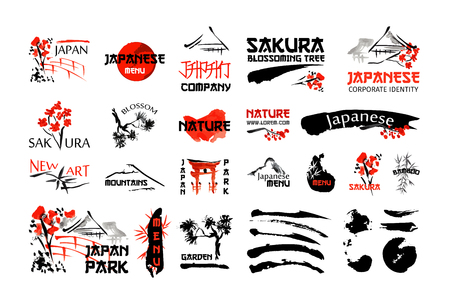 ramen: Japanese nature landscape and buildings. Red and black artistic logo set with sakura blossom, bamboo plant, brush strokes