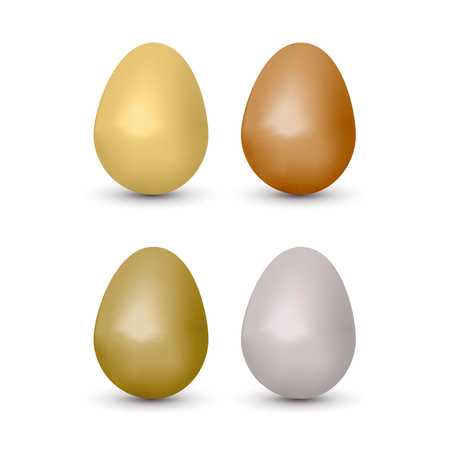 gold egg: Realistic eggs set, brown and white color. Vector illustration