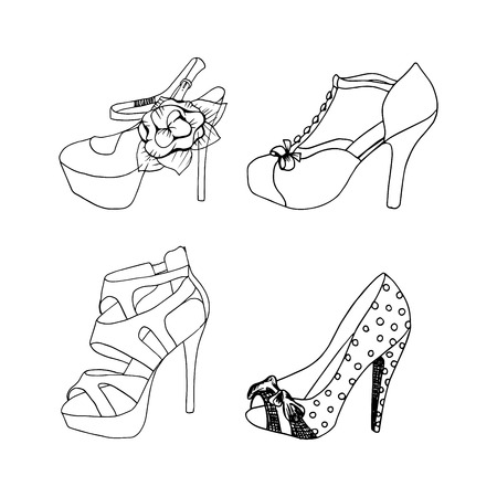 High-heeled shoes for woman. Fashion footwear set. Isolated clipart design