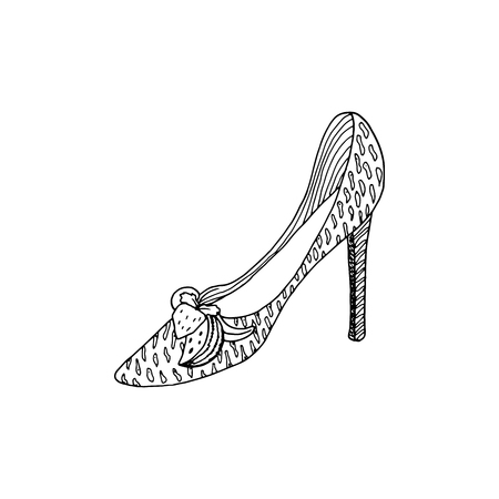 High-heeled shoes for woman. Fashion footwear artwork in shoe style pattern fill. Isolated clipart for coloring book pages design