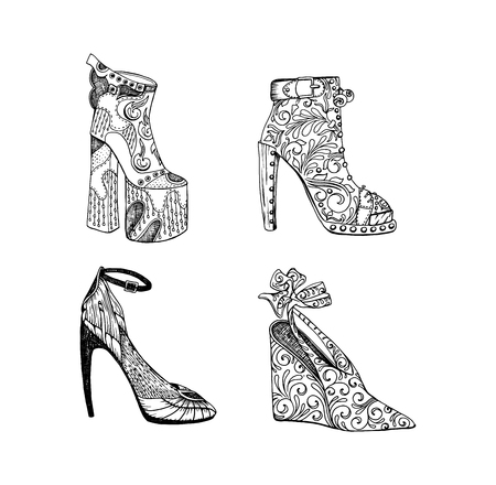 High-heeled shoes set for woman. Fashion footwear artwork in blackblack style pattern fill. Isolated clipart for coloring book pages design