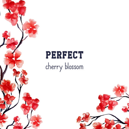 Realistic sakura blossom - Japanese red cherry tree isolated on white background. Vector watercolor painting. Clipping mask. You can move elements. Wedding crad template.