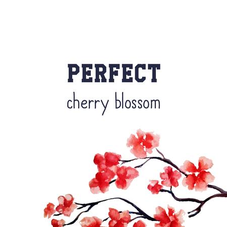 fleur réaliste sakura - Arbre rouge cerise japonais isolé sur fond blanc. Vector peinture à l'aquarelle. Masque d'écrêtage. Vous pouvez déplacer des éléments. Mariage modèle de crad.