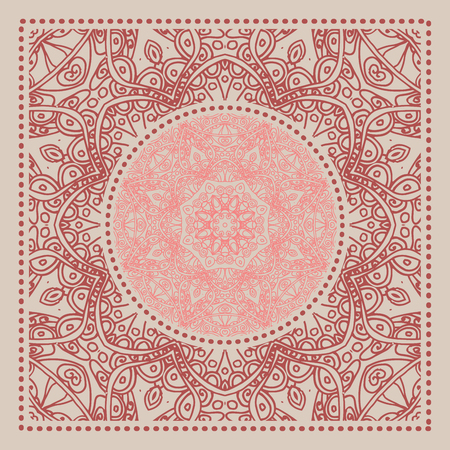 Red Bandana. Marsala trendy color. Vector ornamental tile pattern with border and frame