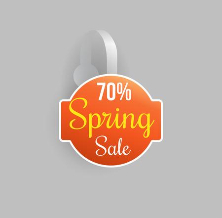 Vector orange wobbler mockup with transparent strip and grey background. Sale message template for your hanging shelf tag design. Illustration