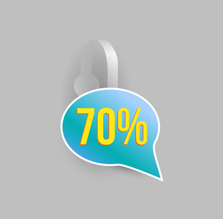 advertising wobbler: Vector blue wobbler mockup with transparent strip and grey background. Sale speech bubble template for your hanging shelf tag design.