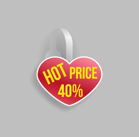 Vector red heart shape wobbler mockup with transparent strip and grey background. Sale message template for your hanging shelf tag design.